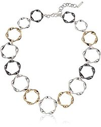 "Nine West - Multicolor Tri-tone 16"" Collar Necklace, 16"" 2"" Extender - Lyst"