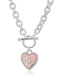 Guess - Metallic S Pave Framed Heart Toggle Necklace With 4 G Logo - Lyst