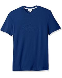 Lacoste Blue Short Sleeve Graphics Jersey Padded Croc Reg Fit T-shirt, Th3233 for men