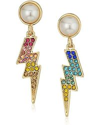 Betsey Johnson Multicolor S Pave And Pearl Lighting Bolt Earrings