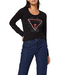 LS CN Roses Tee T-Shirt Donna di Guess in Black