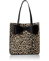 Betsey Johnson Black Mighty Jungle Leopard Print Bow Tote