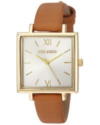 Steve Madden Metallic Quartz Watch With Leather-synthetic Strap
