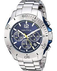 Nautica Metallic 'andover' Quartz Stainless Steel Casual Watch, Color Silver-toned (model: Napadr004) for men