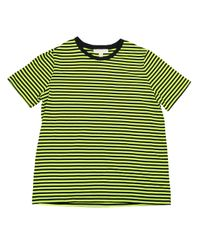 Striped Bright Flourescent Crew Neck Fashion T-Shirt (Black/Neon Yellow di Michael Kors in Green