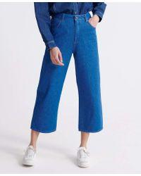 Wide Leg Crop Pantalon Mid Indigo Clean 32 Superdry en coloris Blue
