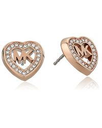 Michael Kors Metallic S Heart Stud Earrings, One Size