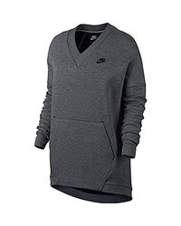 Nike Gray Sportswear Tech Fleece V-neck Sweatshirt Grey/black 803583-091