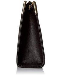 Calvin Klein Black Top Zip Saffiano Clutch