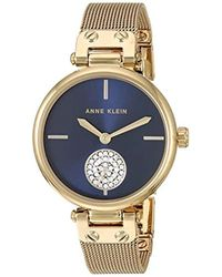 Anne Klein Multicolor Swarovski Crystal Accented Gold-tone Mesh Bracelet Watch