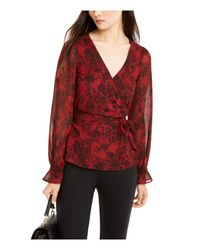Michael Kors S Red Floral Long Sleeve V Neck Blouse Top