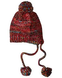 Billabong Red Junior's Love Storm Beanie With Pom Pom