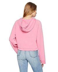 Pam & Gela Pink Crop Drawstring Hoodie
