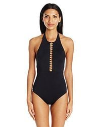 Trina Turk - Black Gypsy High Neck Open Back Sexy One Piece Swimsuit - Lyst