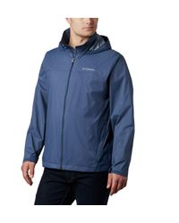 Columbia Blue Glennaker Lake Front-zip Rain Jacket With Hideaway Hood for men