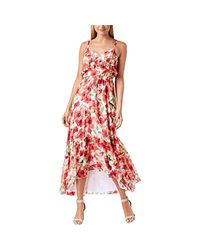 Calvin Klein Red Spaghetti Strapped Maxi With Self Tie Waist Dress