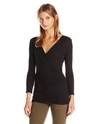 Michael Stars Black 2x1 Shine 3/4 Sleeve Surplice Top