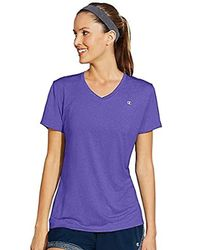 Champion Purple Double Dry V-neck Tee