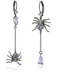 Betsey Johnson - Halloween Mismatched Purple And Hematite Spider Drop Earrings - Lyst