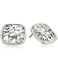 Napier - Metallic Silver-tone With Antique Button Post Stud Earrings - Lyst