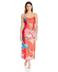 Natori Red Printed Charmeuse Gown