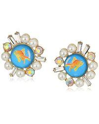 Betsey Johnson Multicolor S Goldfish Stud Earrings