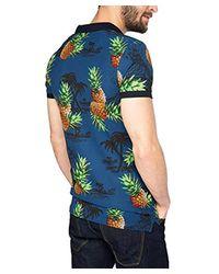 Edc By Esprit Herren T-Shirt 056cc2k007 - mit Tropischem Druck in Blue für Herren