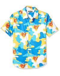 Camicia da ragazzo a maniche corte stampata - Bianco di Timberland in Blue da Uomo
