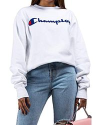 Champion Reverse Weave Sweatshirt With Large Script Logo In White for men