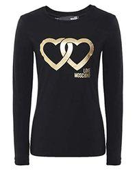 Love Moschino Moschino Metallic Logo Cotton-jersey Long Sleeve Top Black