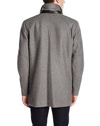 Vince Camuto - Gray Melton Car Coat With Removable Quilted Bib for Men - Lyst