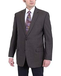 Michael Kors Blue Modern Fit Olive Brown Houndstooth Two Button Wool Blazer Sportcoat for men