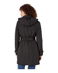 Calvin Klein Black Double Breasted Belted Quilt With Hood