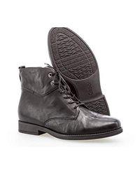 Gabor Black Damen Stiefeletten, Frauen Schnürstiefelette,Comfort-Mehrweite,Reißverschluss,Übergrößen