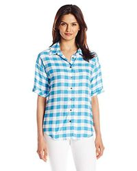 G.H.BASS - Blue Rayon Buffalo Check Shirt - Lyst