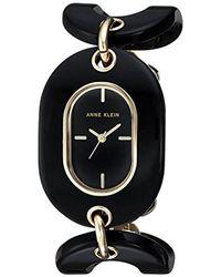 Anne Klein Ak/2674bkgb Gold-tone And Black Open Link Bracelet Watch