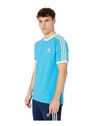 Adidas Originals Blue 3-stripes Tee Shock Cyan Large for men