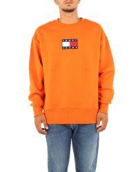 Felpa Patch Bandiera Centrale Arancio DM0DM08488SFQ L Tommy Hilfiger pour homme en coloris Orange