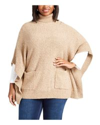 Michael Kors Natural S Beige Textured Heather Short Sleeve Turtle Neck Poncho Sweater Plus