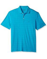 Izod Winward Short Sleeve Windowpane Interlock Polo, Algiers Blue, X-large for men