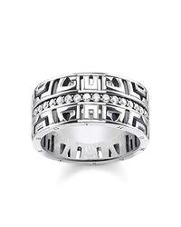 Thomas Sabo Damen Ring asiatische Ornamente 925er Sterlingsilber, Geschwärzt TR2167-643-14 in Metallic für Herren