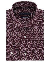 Tommy Hilfiger Purple Slim-fit Th Flex Non-iron Supima Stretch Floral Dress
