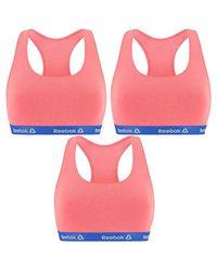 Talla M: Pack de 3 Top Deportivo para Mujer Rosa-95% algodón 5% Elastano Reebok de color Pink