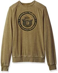 Lucky Brand Green Venice Burnout Crew Neck Sweatshirt In Military Olive for men