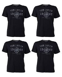 Tom Tailor Rundhals T-Shirt Logo Tee Basic Verschiedene Farben und Farbvarianten 4er Pack, Größe:M in Black für Herren