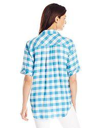 G.H. Bass & Co. - Blue Rayon Buffalo Check Shirt - Lyst