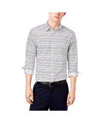Michael Kors Slim-fit Broken Stripe Shirt White Large for men