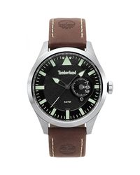 Timberland Multicolor S Analogue Quartz Watch With Leather Strap Tbl.15361js/02 for men