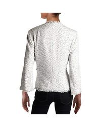 Kasper White Petite Monochrome Tweed Fly Away Jkt