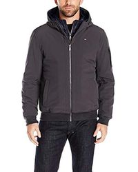 Tommy Hilfiger Multicolor Soft Shell Fashion Bomber With Contrast Bib And Hood for men